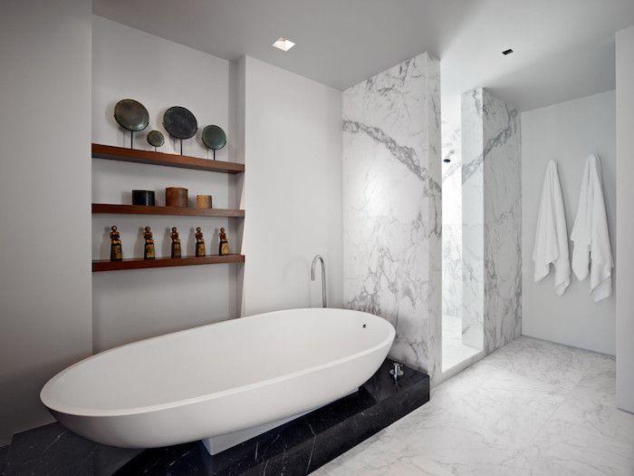 bäder ideen, badezimmer in weiß und schwarz einrichten, badfliesen - badezimmer ideen wei
