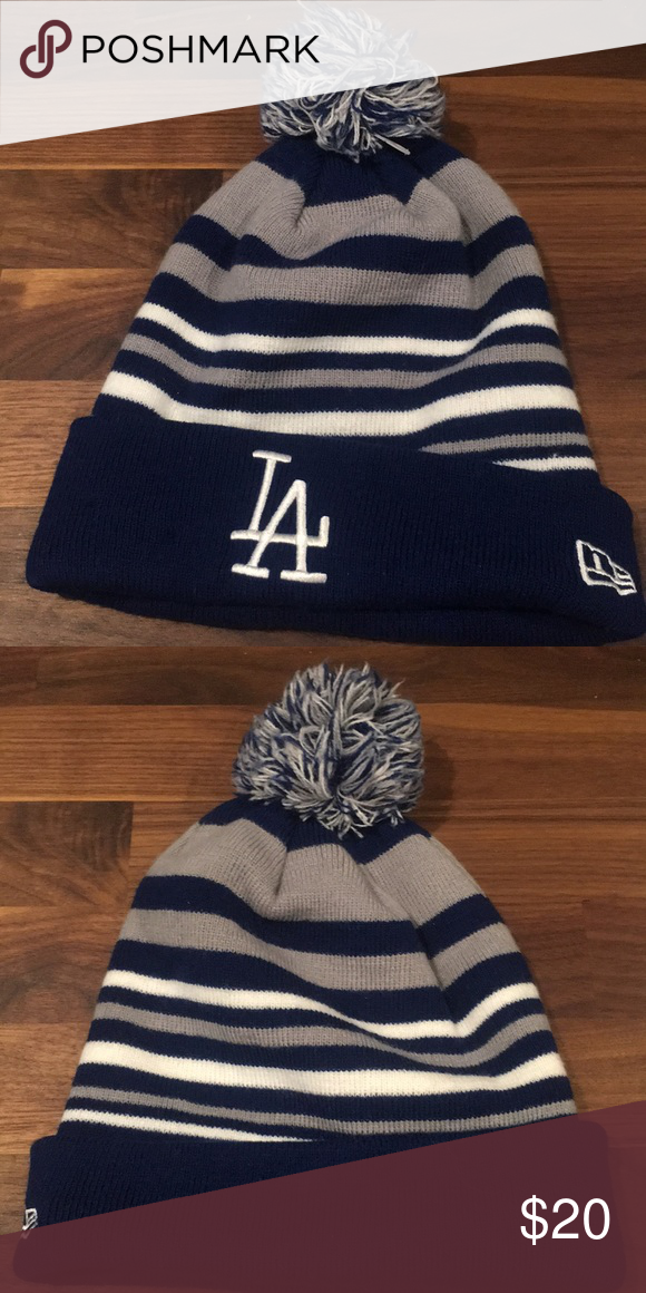 b4827425ef325 New era LA dodgers Pom beanie blue white Item has been worn only once New  Era Accessories Hats
