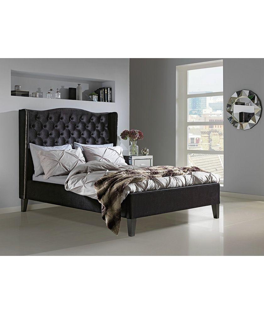 Collection Luxford Velvet Superking Bed Frame Black At Argos Co Uk