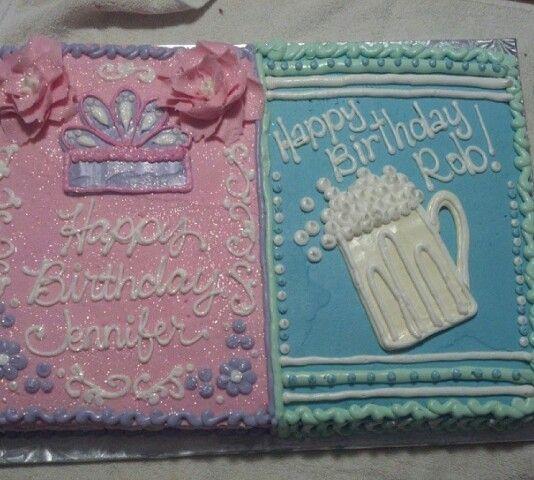 Half and half birthday cake. Princess theme. Beer theme. Icing flowers.