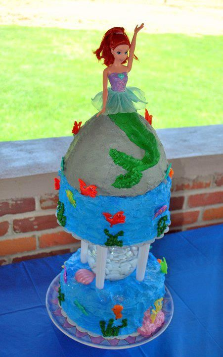 Pixies Playland Ariel Birthday Cake There Is A Fish Bowl In The