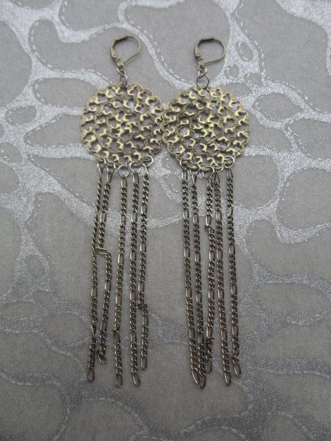Chain Earrings - Antiqued Brass Discs with 4 Lengths of Chains by MEDICINAdesigns, $49.99