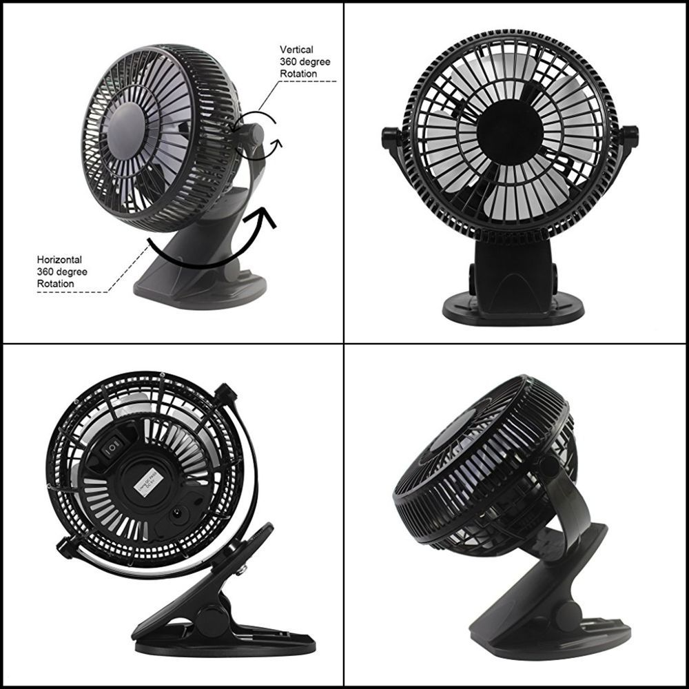 Clip On Mini Electric Cooling Fan Portable Oscillating Small Table