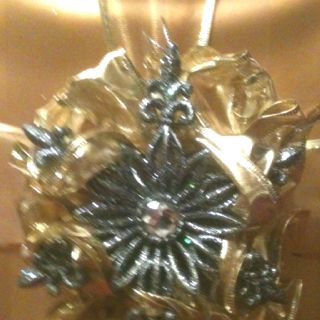 I always wrap my Christmas gifts in gold and handmake my bows centerpieced with ornaments
