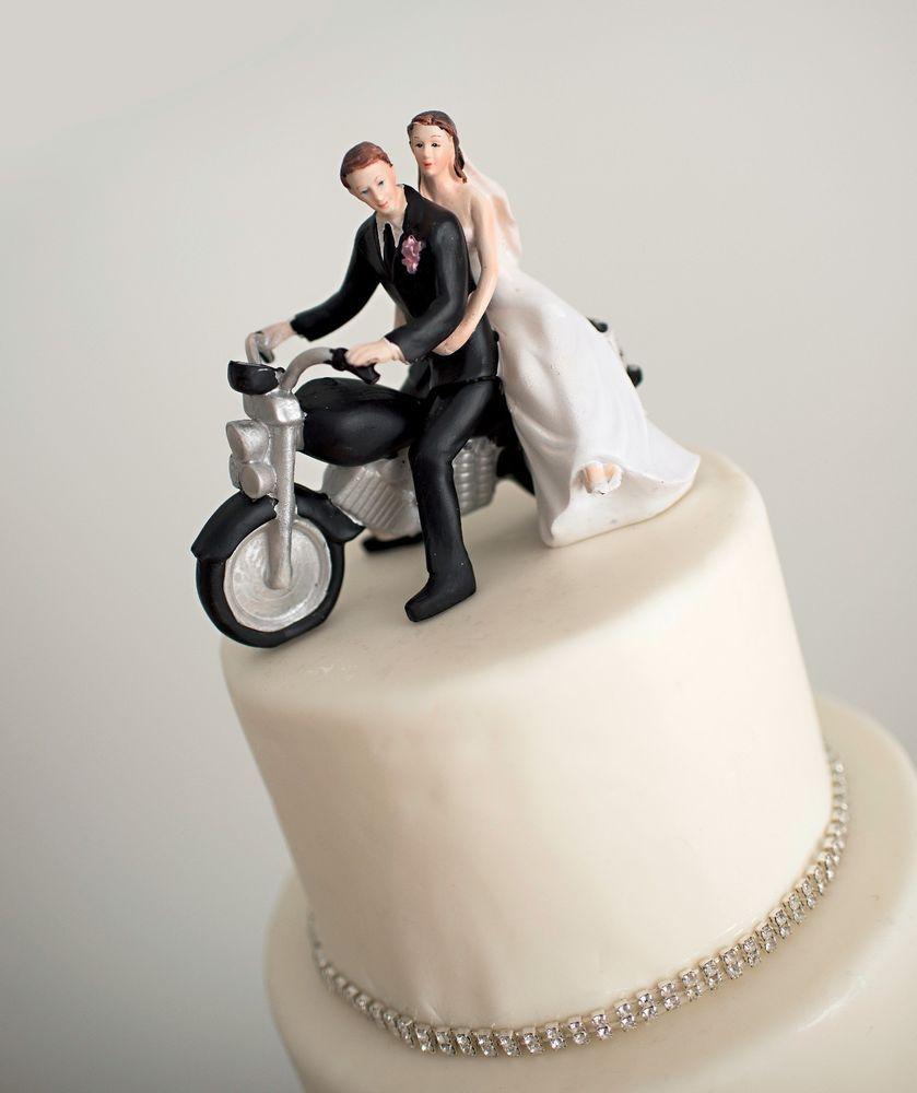 Romantic Couple Motorcycle Brunette Groom Brunette Bride Wedding ...