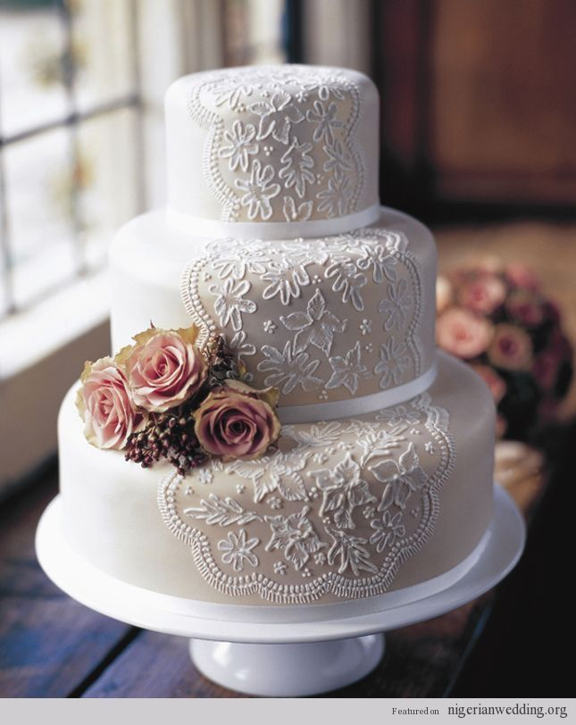 Stunning Vintage Lace Wedding Cake Ideas   Nigerian Wedding ...