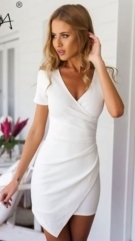 b782e76bddc1 Plain Irregular Pleated V-neck Mini Dress