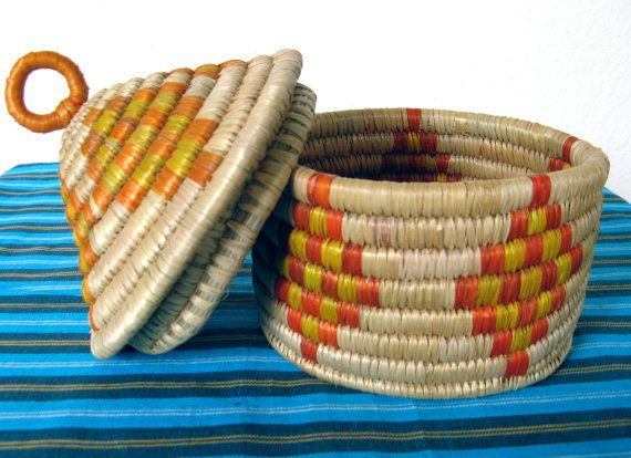 Coil Style Basket with Lid by MarketHome on Etsy, $18.00