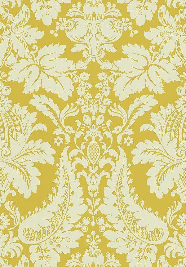 Golden Yellow Damask Wallpaper 566 43950