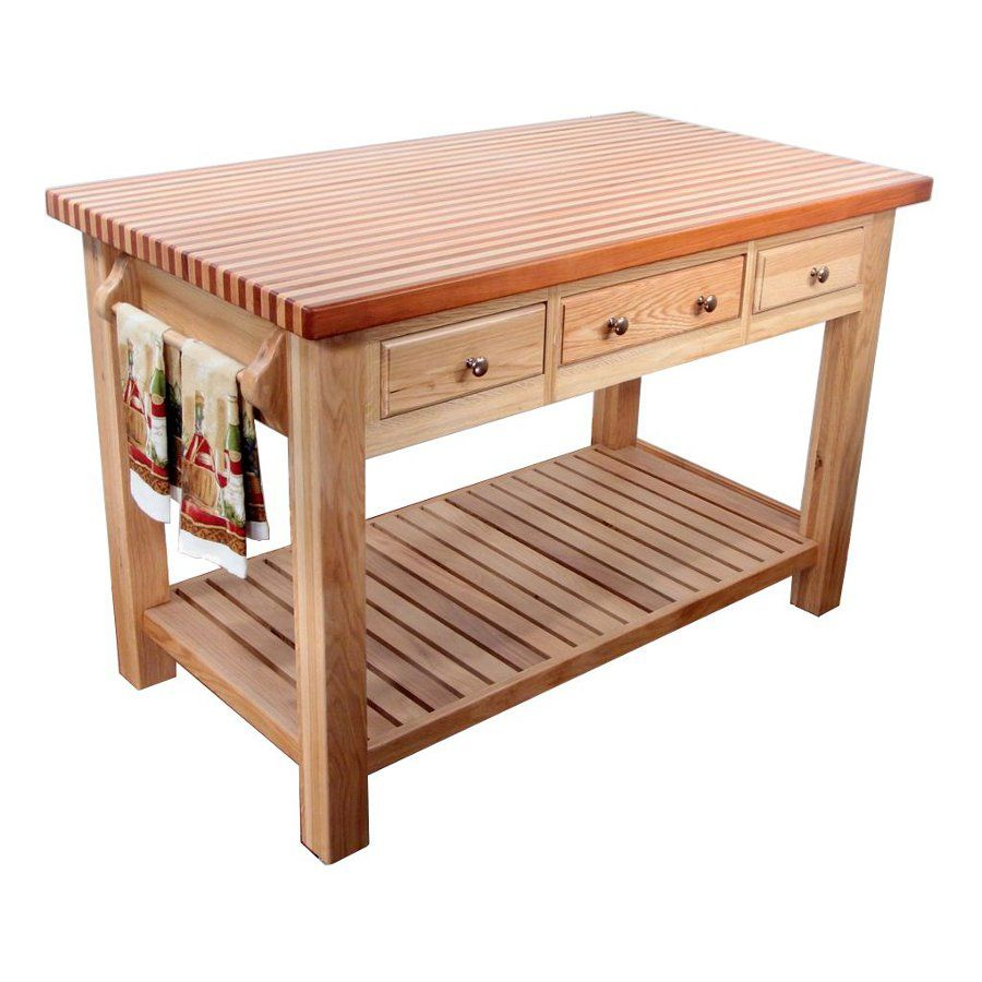 Kitchen Prep Tables Natural Solid Wood Beautiful Island Utility Work Table 3 Drawers Storage