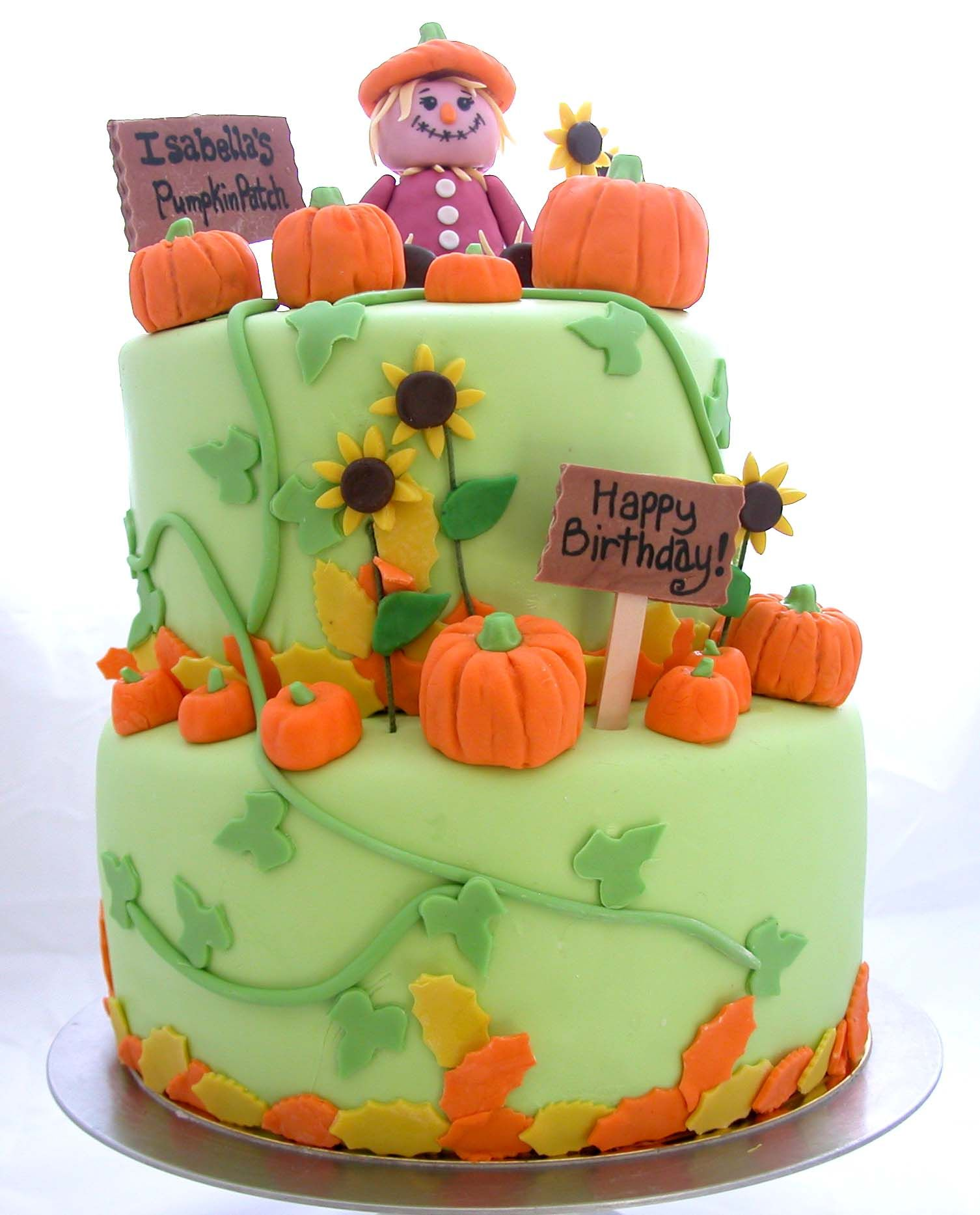 Marvelous Pumpkin Patch Birthday Cake Pumpkin Birthday Cakes Pumpkin Personalised Birthday Cards Beptaeletsinfo
