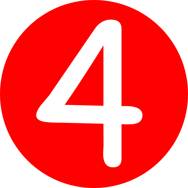 4 | Red, Rounded,with Number 4 clip art - vector clip art ...
