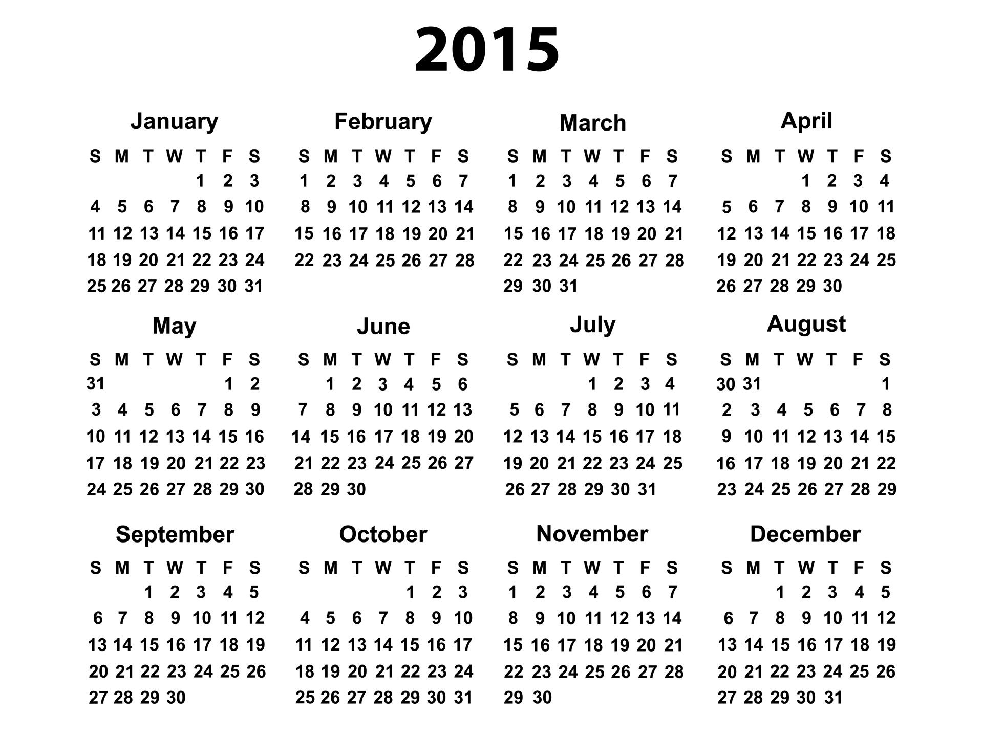 Free Printable 2015 Calendar-Year | Download 2015 PDF calendars of ...