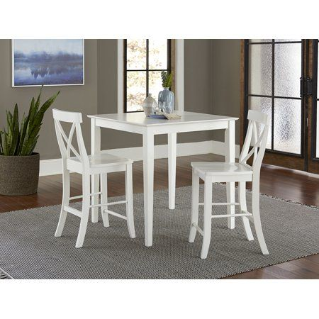 36 Inch Square Counter Height Dining Table With 2 X Back