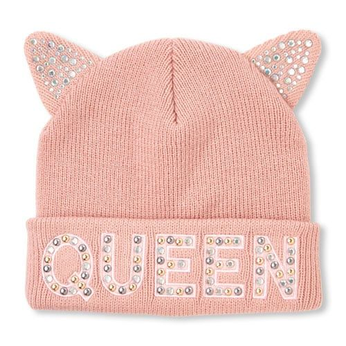 27abc9c8f8d Girls Embellished  Queen  Cat Ears Beanie
