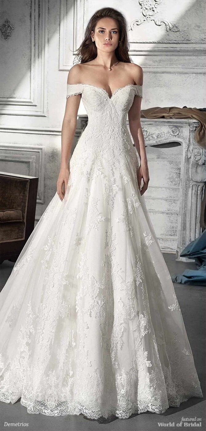 Demetrios wedding dresses embroidered lace lace applique and
