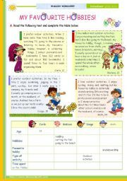 english worksheet the st minute lesson of on the topic my english worksheet the of on the topic my favourite hobbies reading comprehension for upper elementary and lower intermediate students