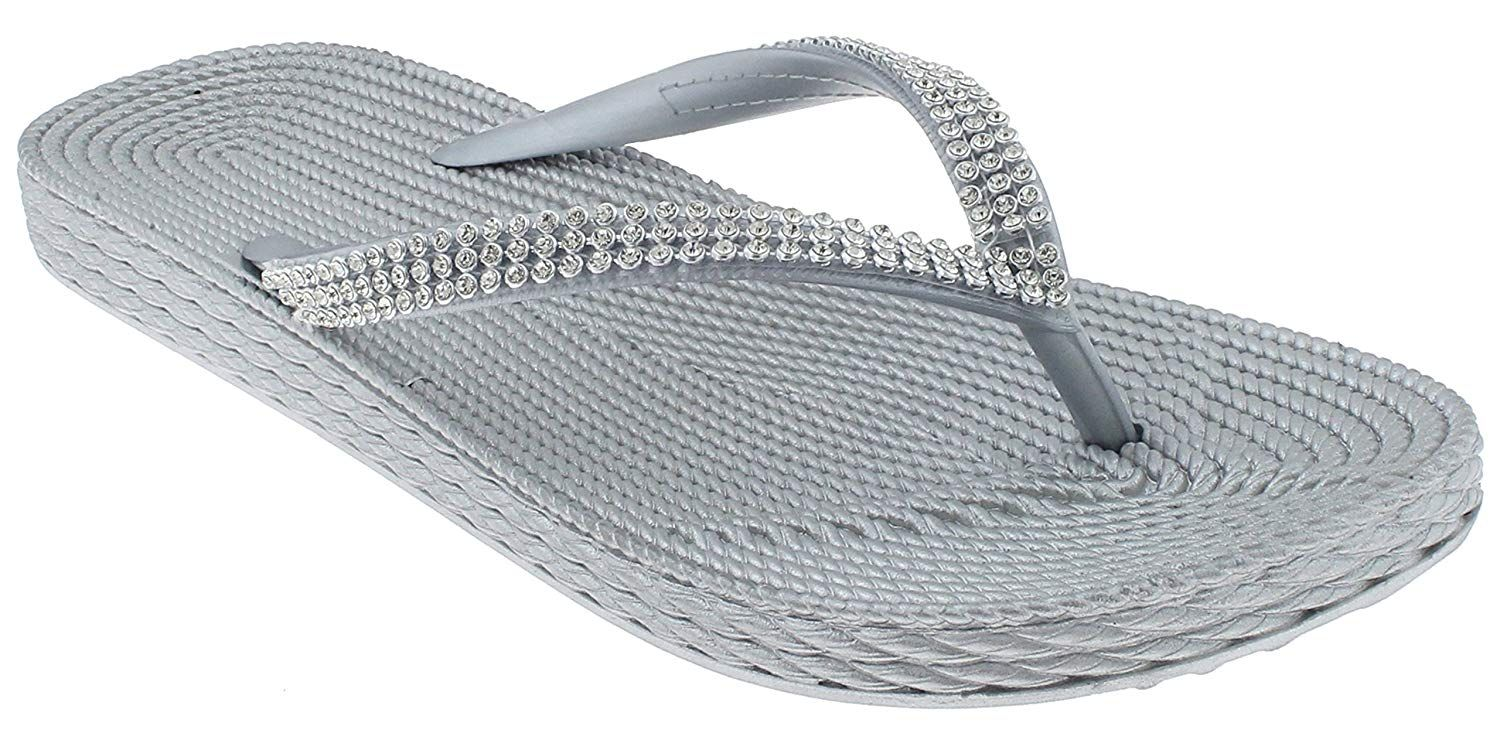 026c762c689 Capelli New York Ladies Fashion Flip Flops with Rhinestone Trim Silver 8      Do hope that you actually do enjoy our image. (This is an affiliate  link)   ...