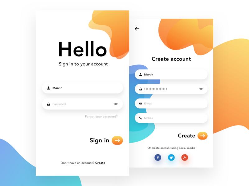 Login Sign Up Screen App Interface Design Login Design Mobile App Design Inspiration