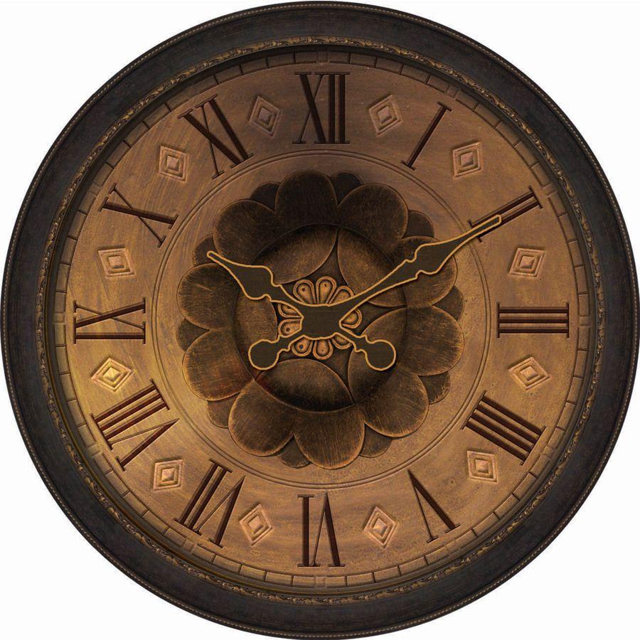 Allen Roth Analog Round Indoor Wall Clock Lowes Com In 2021 Wall Clock Bronze Clock Large Wall Clock