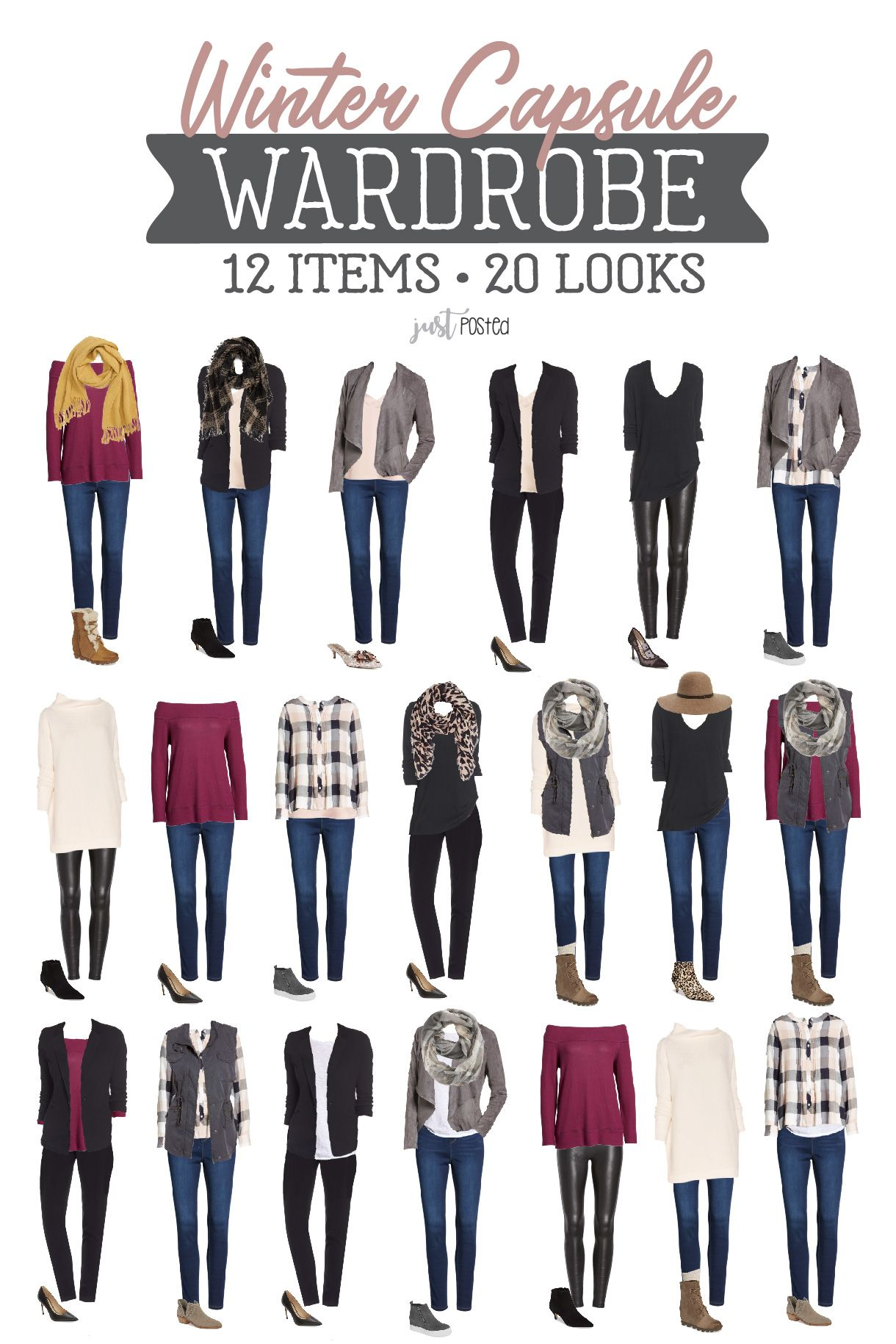 Winter Capsule Wardrobe • 12 Items for 20 Different Looks