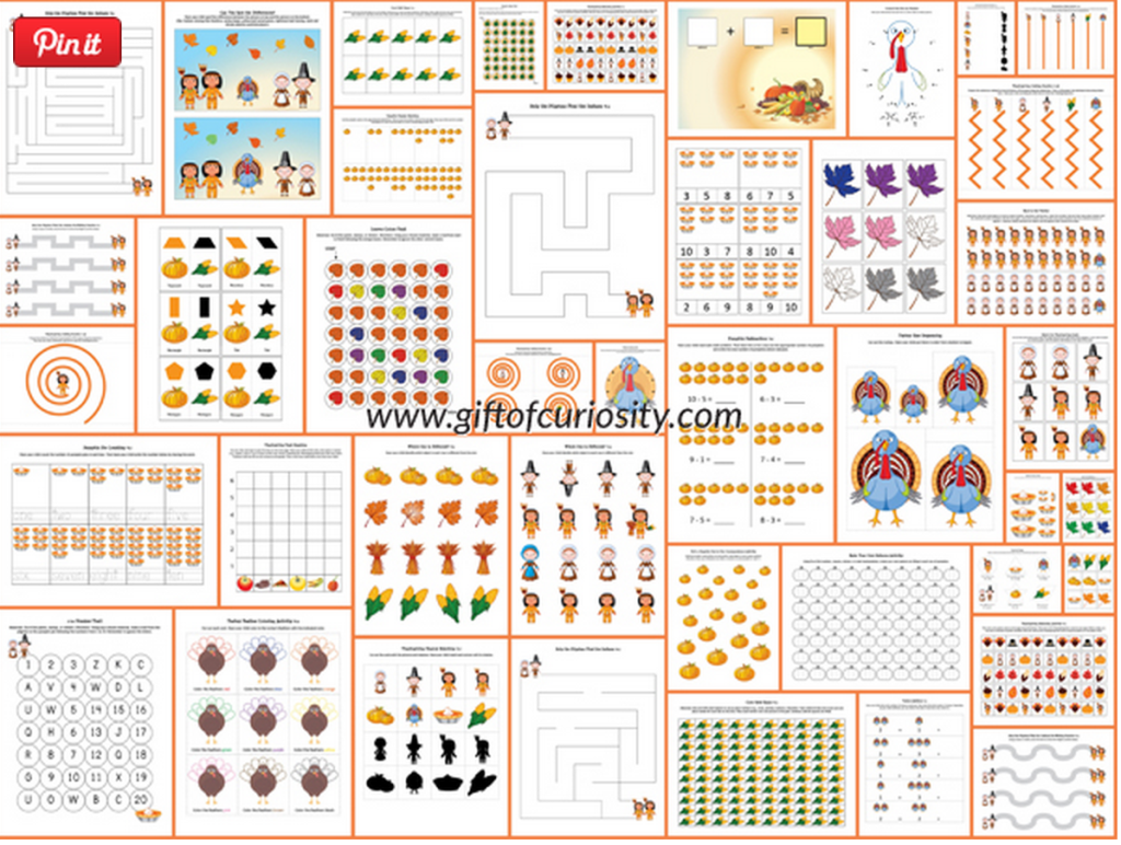 Free Thanksgiving Printables Perfect For Ages 2 7