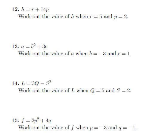Substitution Into Formulae Worksheet With Solutions Learning Mathematics Worksheets Math Worksheets