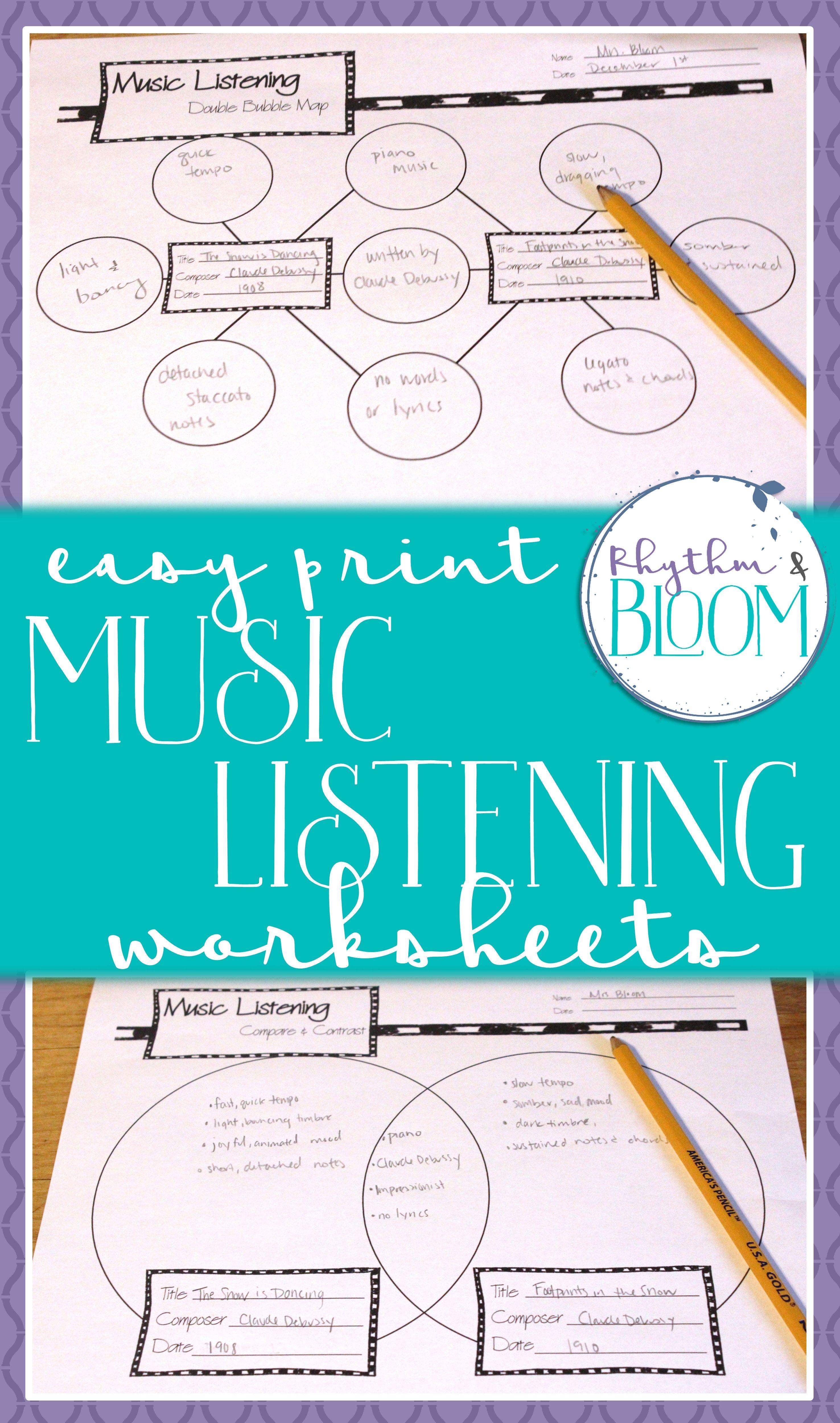 Music Listening Worksheet Bundle | Pinterest | Worksheets, Music ...