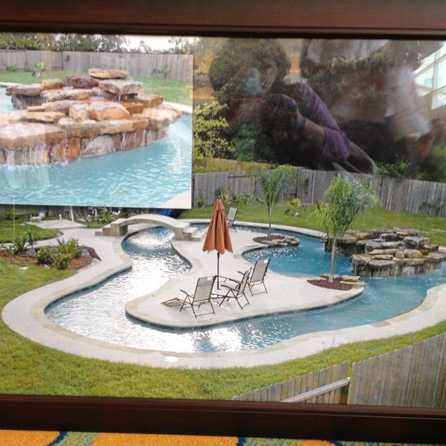 Backyard Pool with a lazy river and a sun deck. This is ...