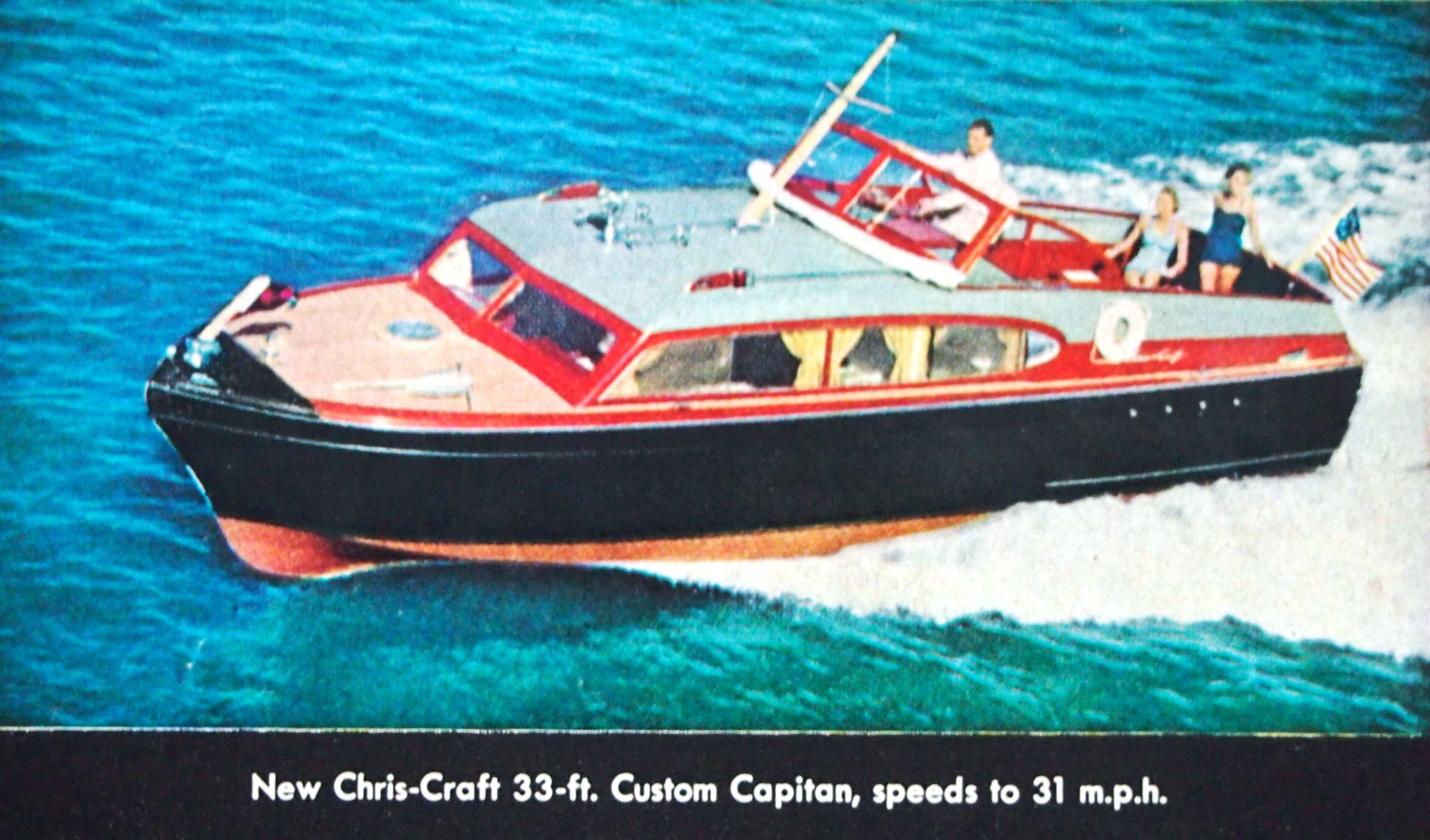 70da6cd59066daa6db7543daee412f80 1954 45' chris craft corsair ad with specs chris craft motor Chris Craft Commander Electrical Wiring at bakdesigns.co
