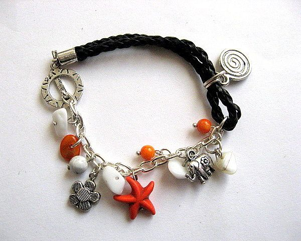 Bratara portocaliu, galben, negru si alb, howlite, sidef si jad - bratara femei handmade