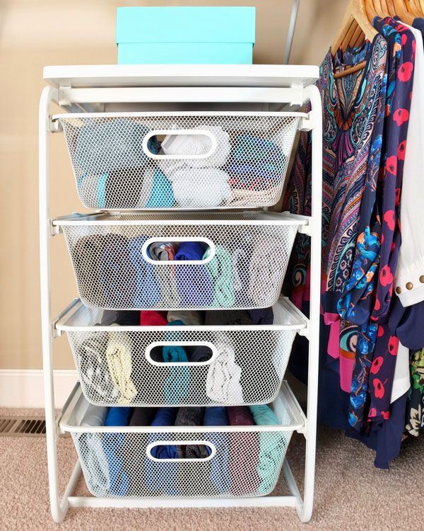 Pretty Wire Mesh Drawers For Folded Clothes In A Closet