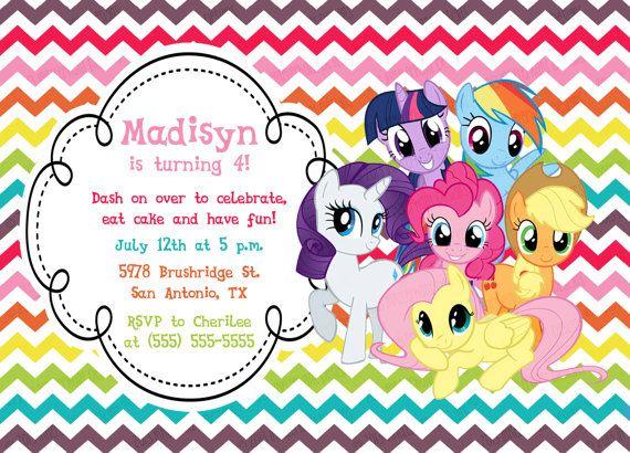 Custom Personalized My Little Pony Rainbow Chevron Birthday Invitation With All The Ponies