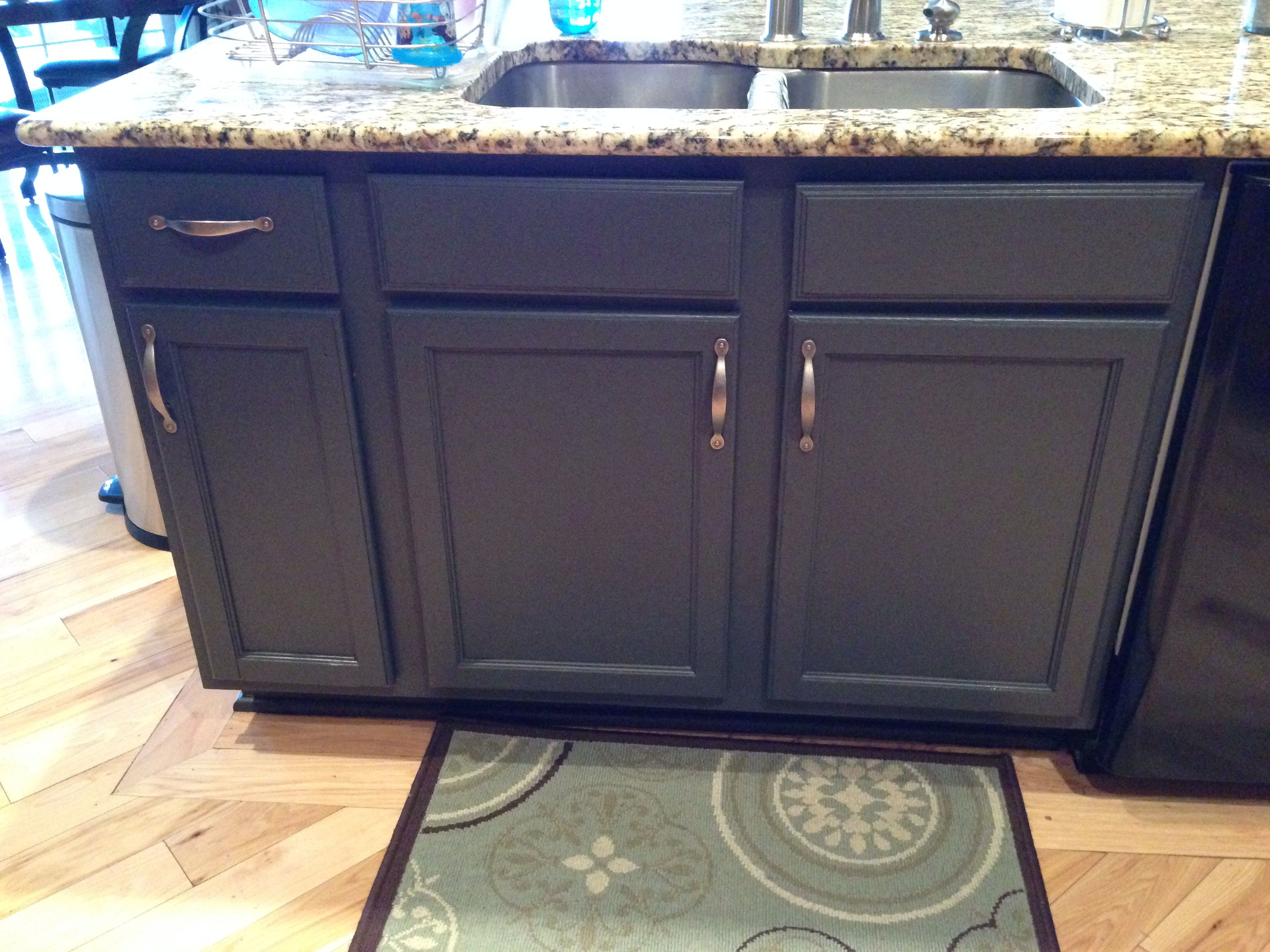 Repainted My Kitchen Island In Benjamin Moore Wrought Iron Diy Stairs Benjamin Moore Wrought Iron Wrought Iron Stairs