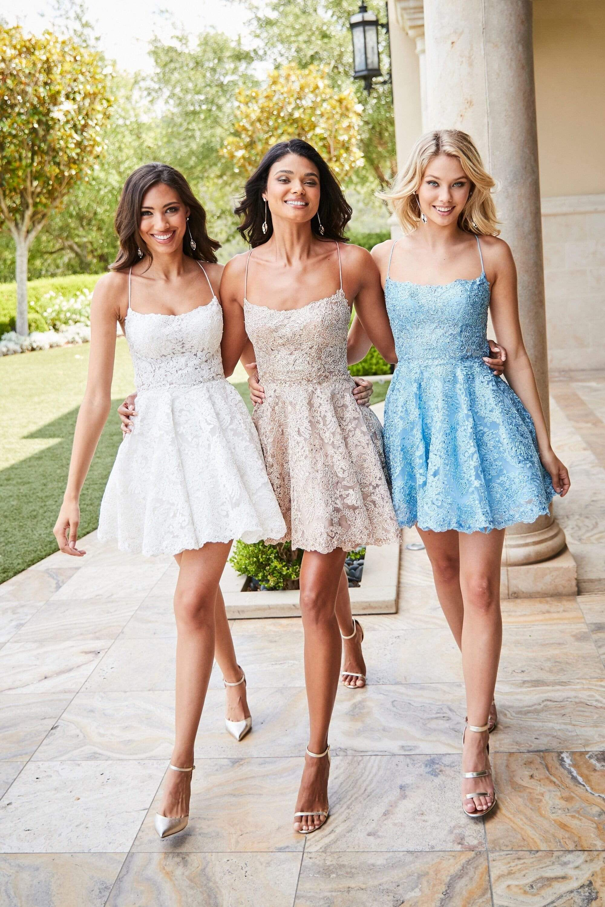 Look brilliant for the big party as you don this cocktail dress by Sherri Hill 52512. This Oh! so pretty metallic lace party dress charms with a scoop neckline, held by spaghetti straps that glides into the open back with strappy details supporting the fitted bodice. The dress features a mid-thigh A-line skirt. Make a memorable splash at your upscale evening as you mesmerize the night in this Sherri Hill short dress. Style: sher_52512 Details: Metallic Lace, Beaded, Fit and flare, Bare back, Lac