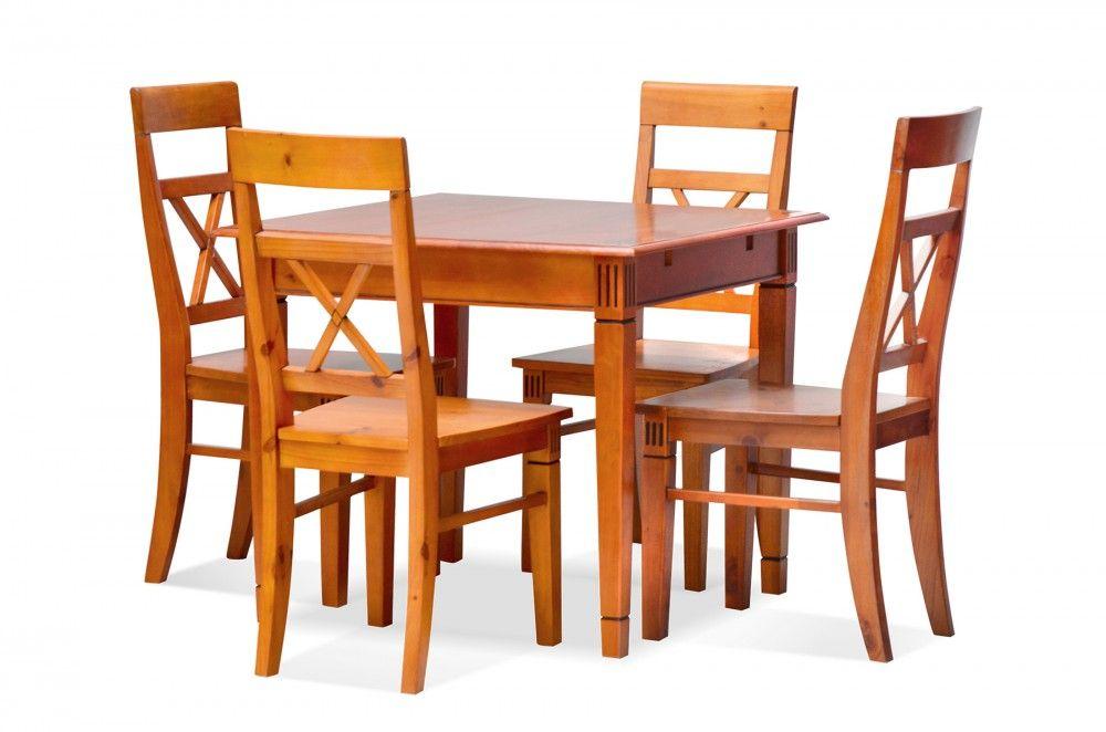 #Essgruppe 90 x 90 cm Gotland - Esstisch & 4 Stühle - Pinie massiv - braun - gebeizt & lackiert