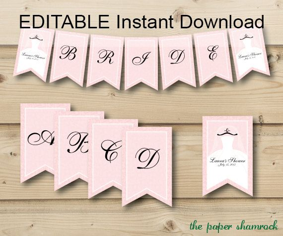 photo relating to Printable Bridal Shower Signs identify EDITABLE Quick Down load Printable Banner, Wedding day Shower