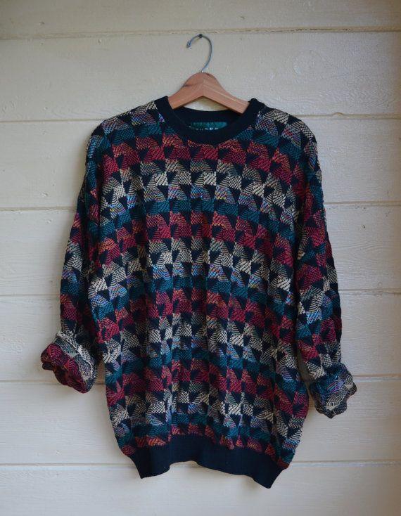 edf5f2652fa30 Vintage 80s Men s Pullover Sweater Knit by founditinatlanta