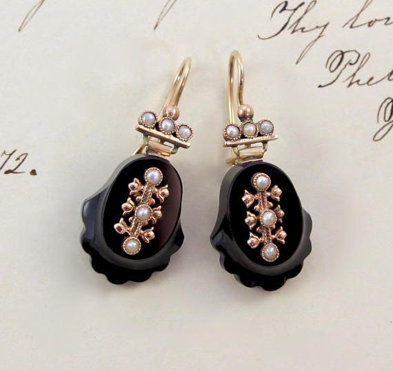 1661a74940f Antique Victorian Jet   Seed Pearl Earrings 14k Carved Black