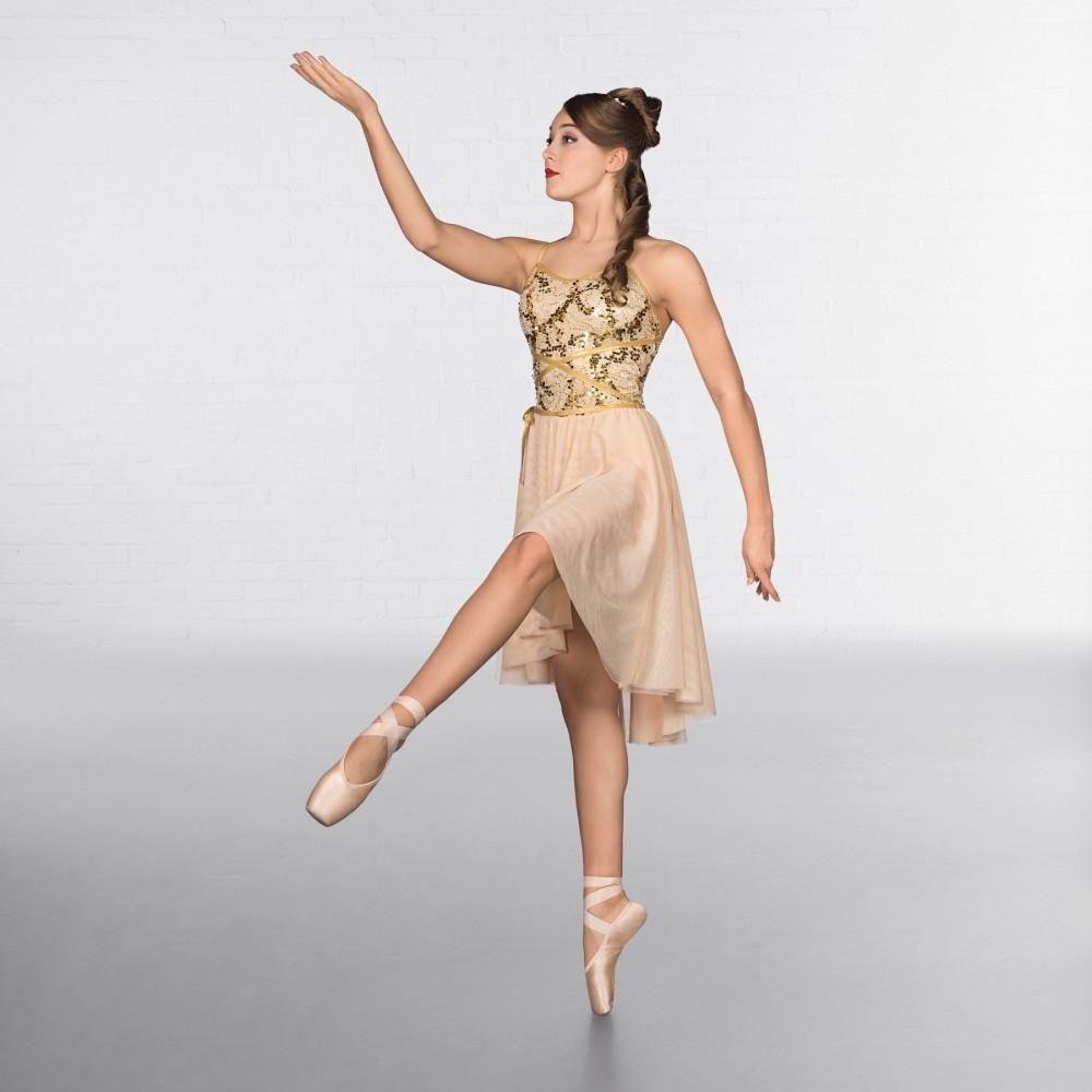 f81b53d765978 1st Position Gold Wrap Around Sequin Dipped Hem Lyrical Dress dazzle- dancewear.co.uk