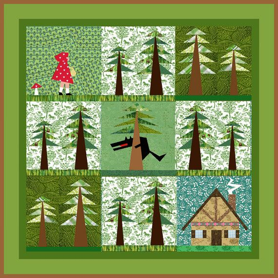 Little red Riding Hood Set of 4 paper pieced quilt by BubbleStitch