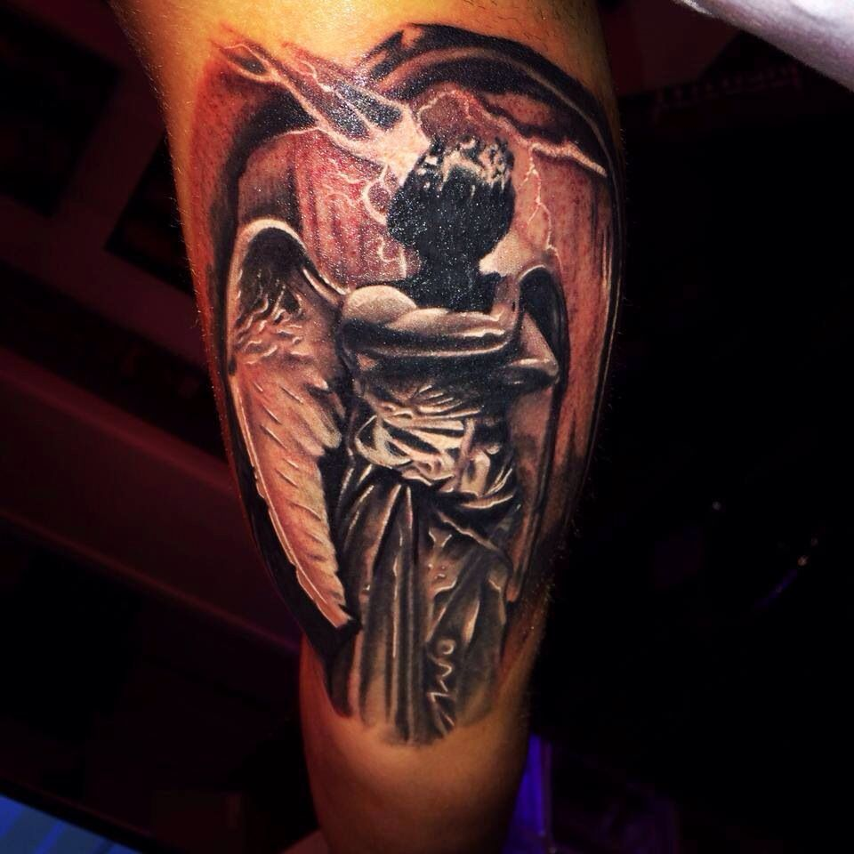 black grey tattoo dark angel tattoo done by raphael schilling from identity tattoo munich. Black Bedroom Furniture Sets. Home Design Ideas