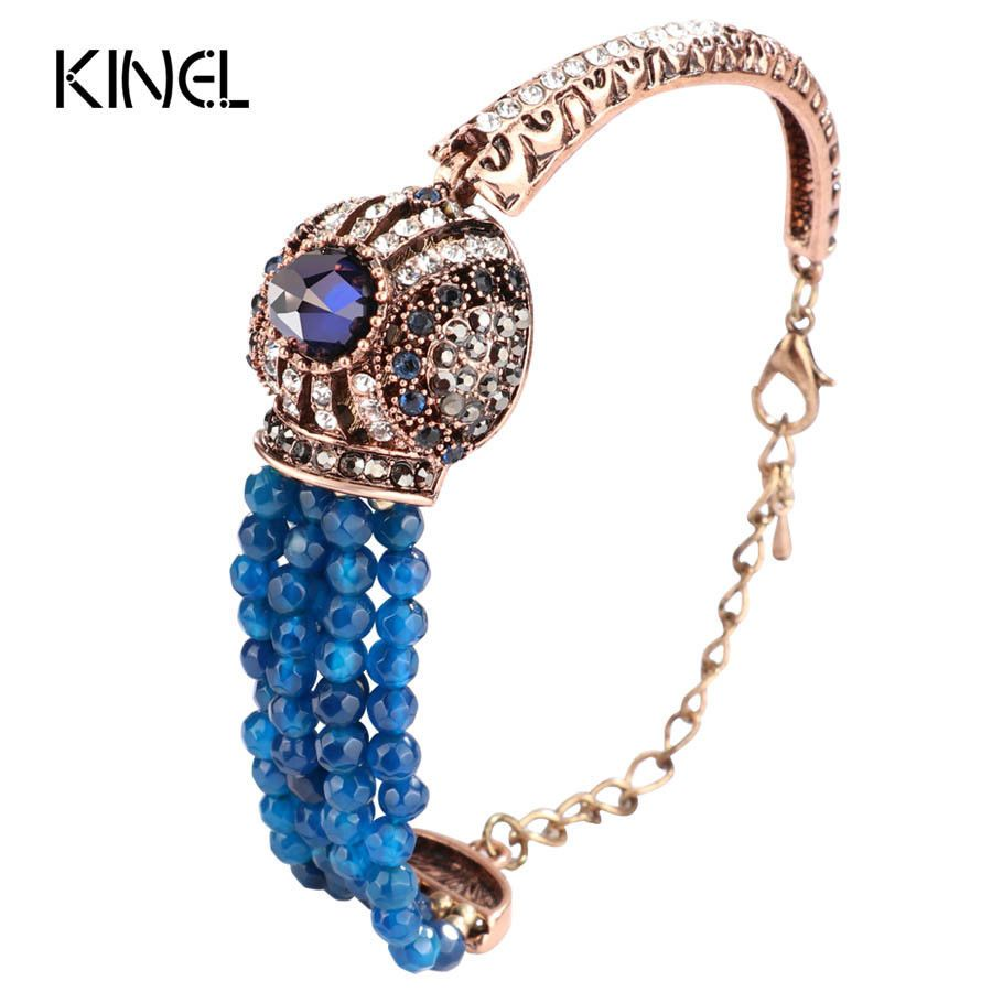 Natural stone crystal beads bracelet women antique covered with blue