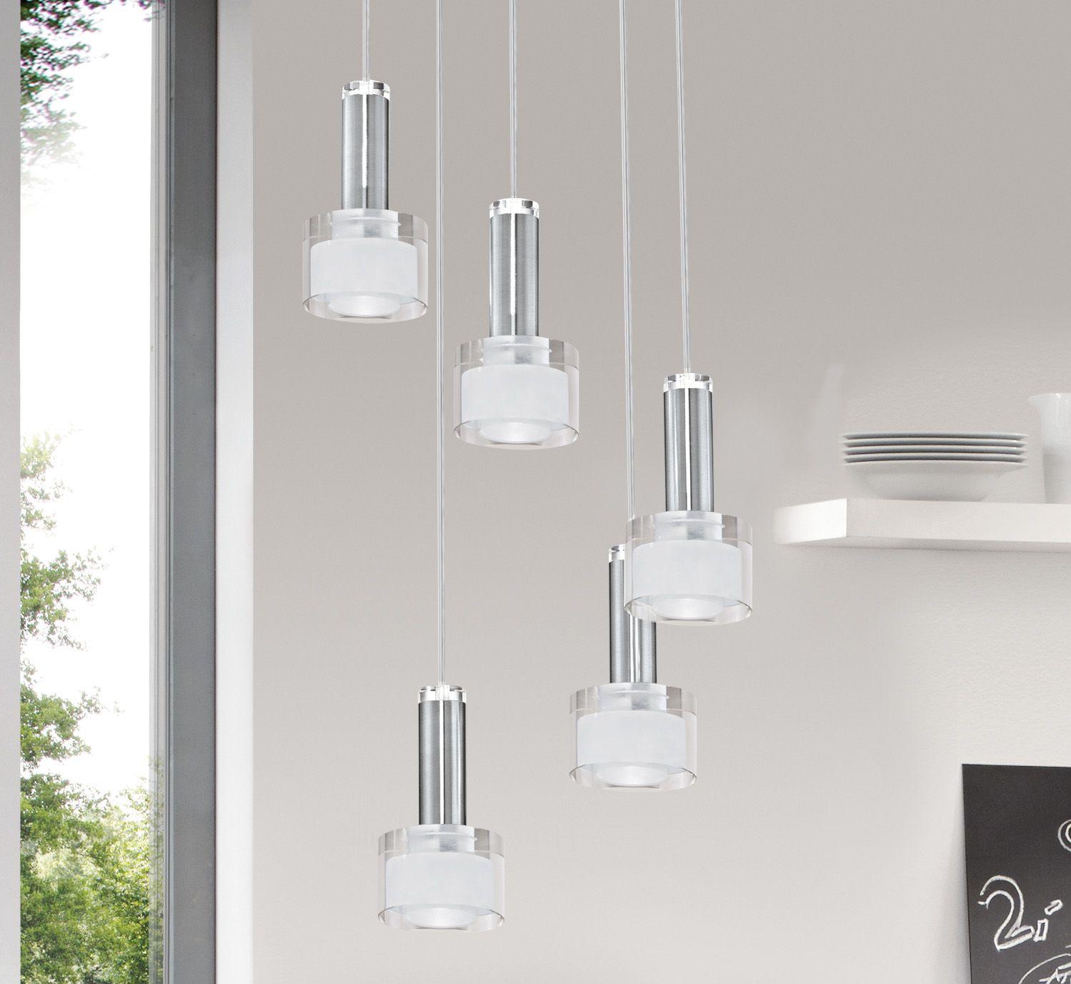 Amity 5l Pendant Brushed Chrome: Eglo Lighting / Fabiana / LED Polished Chrome 5 Lamp Round