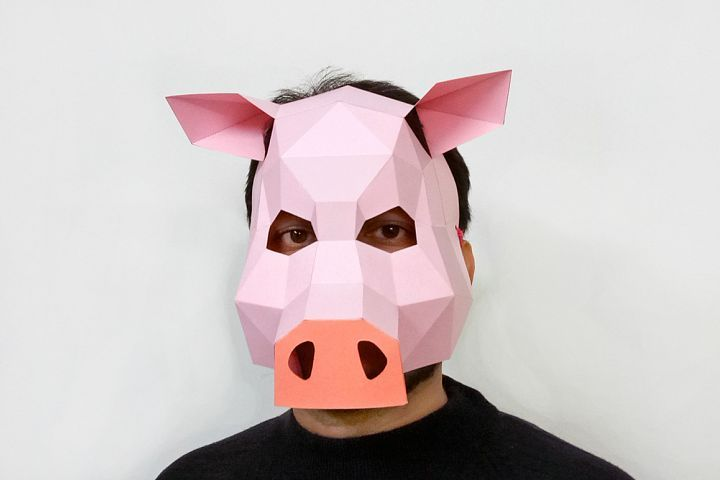 DIY Pig Mask - 3d papercraft by PAPER a | Design Bundles | Pinterest