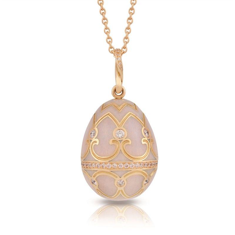 Faberg Egg Pendant Palais Tsarskoye Selo Diamond Rose Pendant