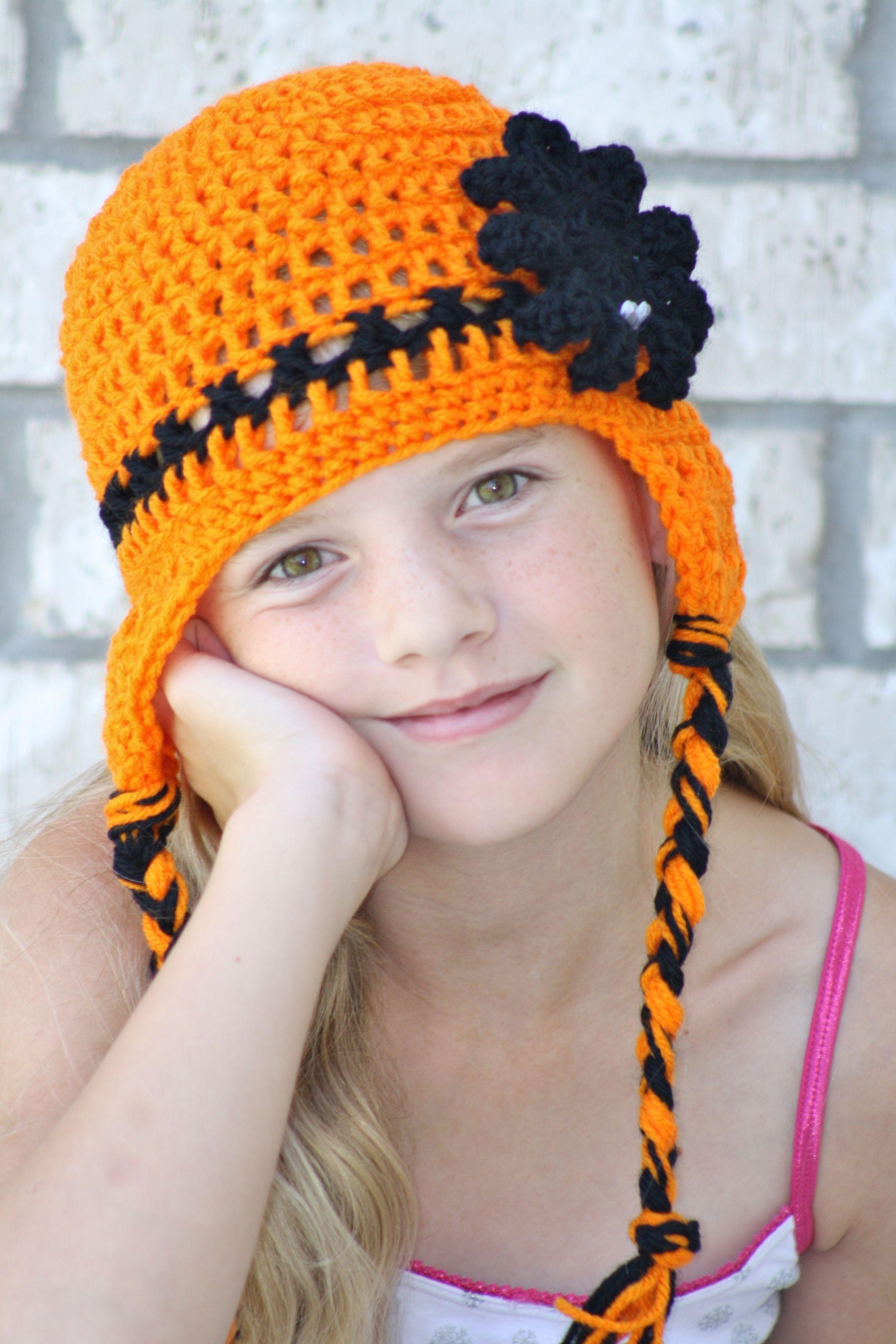 Halloween Ear Flap Hat Crochet By Charlene | Crochet | Pinterest