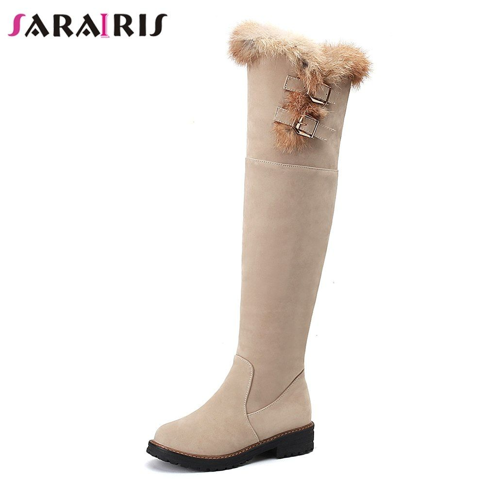 f6d90bae7 SARAIRIS New Black Fur Winter Boots Wide Med Heels Zip Belt Buckle Shoes  Woman Casual Women's Over The Knee Boots Big Size 34-43