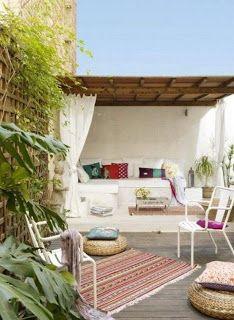summer, terrace, curtains
