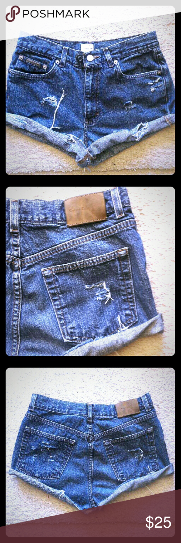 CALVIN CLIEN DESTROYED JEAN SHORTS ...SIZE 29 AWESOME CALVIN CLIEN DENIM JEAN SHORTS SIZE 29 WAIST, HAS SOME STRETCH.. JUST IN TIME FOR SPRING & SUMMER.. Calvin Klein Shorts Jean Shorts